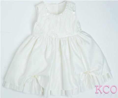 Diamante Neck Dress White ~ girls dress
